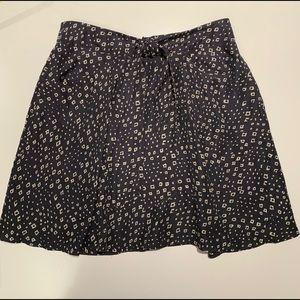 Anthropologie Lil Womens Skirt Black White Silk